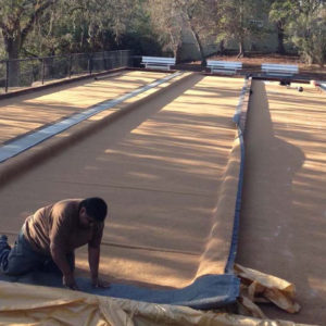 Oakmont Pacific Pearl Bocce Fiber Layer Install and Cut in